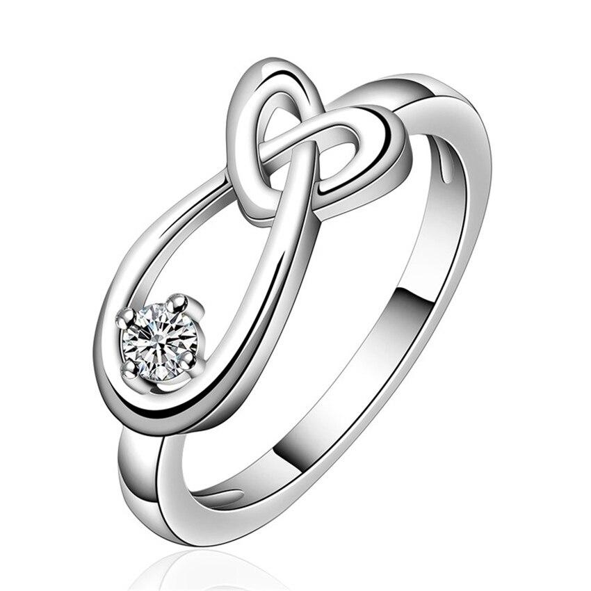Mode 925 Hochzeit Party Ring Silber überzogene Trend Nette Frauen Shiny Kristall Cz Engagement Ring Süße Mode Jewelryjshr1075 Hochzeits- & Verlobungs-schmuck