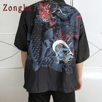 Zongke Japanese Kimono Cardigan Men Harajuku Streetwear Long Kimono Cardigan Men Hip Hop Kimono Jacket Coat Men 2018 Summer cardigan