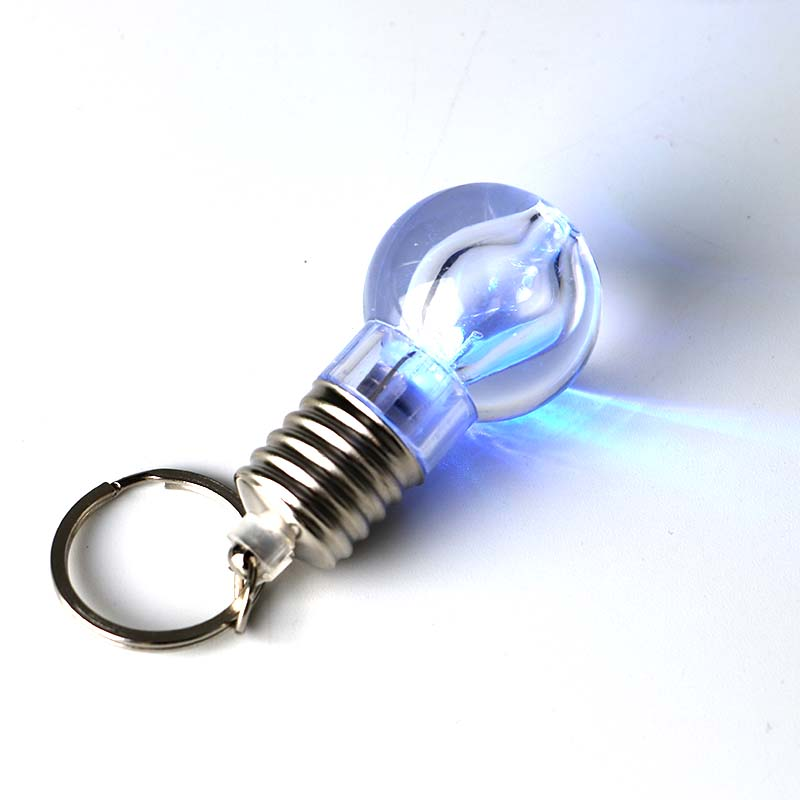 New Arrival 1 Pcs Lovely Clear LED Light Lamp Bulb Keychain Silver Novelty Lighting Bulb Keychain