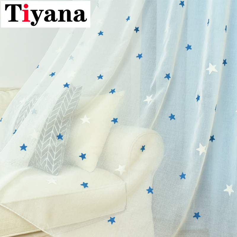 Blue Embroidered Star White Tulle Sheer Curtains For Bedroom Living Room Kids Room Kitchen Short Curtain Cortina Para P300X