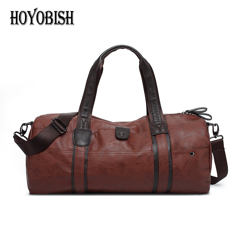 HOYOBISH Korean Style Leather Travel Shoulder Bags For Men 2018 Waterproof Men and Women Duffle Handbags saco de viagem OH210