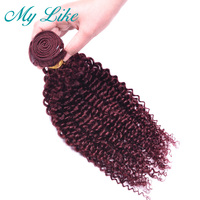 My Like Malaysian Curly Hair Bundles 99J Bold Red Human Hair Weave 1 Bundle Burgundy Hair Extensions 10 24 Non remy Weave Hair