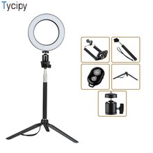 Tycipy Mini Ring Light Photography LED Studio Photo Camera Selfie Ring Light with Tripod Remote Control for Smartphone Canon(China)