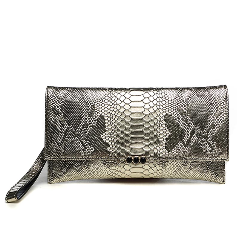 Luxury Serpentine Genuine Leather Women Chain Evening Bag Crossbody Hand Bag Shoulder Envelope Evening Bag Wristlet Day Clutches women genuine leather character embossed day clutches wristlet long wallets chains hand bag female shoulder clutch crossbody bag