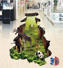 3d pvc flooring custom photo mural picture wall sticker 3d animal world floor painting room wallpaper for walls 3d