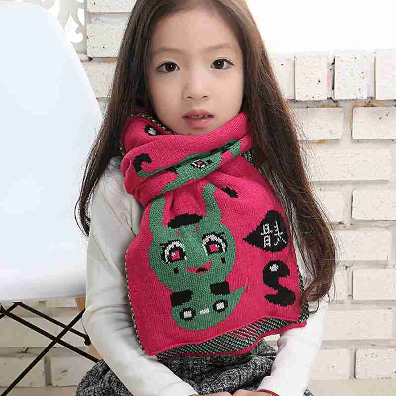 Winter Scarf Kids Knitted Cartoon Cute Scarves Girl Patchwork Colourful font b Tartan b font Foulard