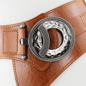 Image 3 - Lady Leather Waistband Womens Genuine Leather Belt Skirt Trim Fur Coat Down Jacket Belt Black Elastic Wide Waistband B 8403