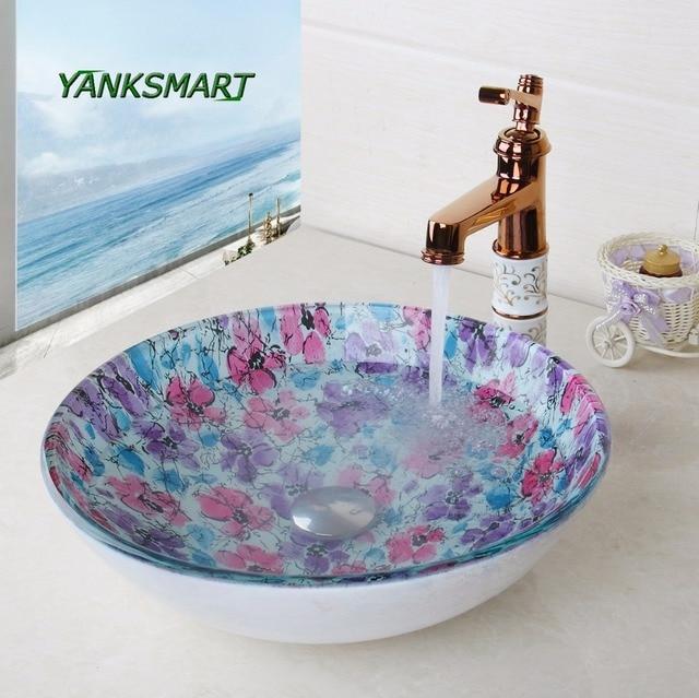 YANKSMART Round Glass Flora Washroom Basin Vessel Vanity Sink Bathroom  Washbasin Ceramic Ross Golden Brass Mixer