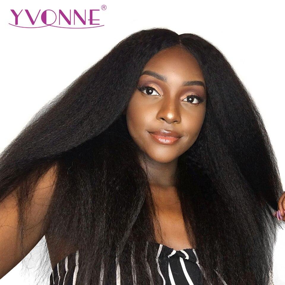 YVONNE Kinky Dentelle Droite Avant de Cheveux Humains Perruques Pour Les Femmes Noires Brésilienne Vierge Perruque De Cheveux 180% Densité Couleur Naturelle