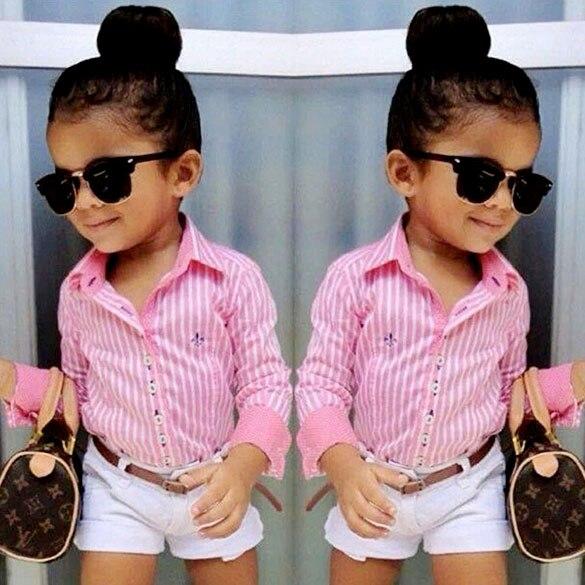 65be71044 Niñas lindas que arropan bebé de moda de ropa para 3 11 años niños niños  camiseta + los cortocircuitos 24 en Sistemas de la ropa de Mamá y bebé en  ...