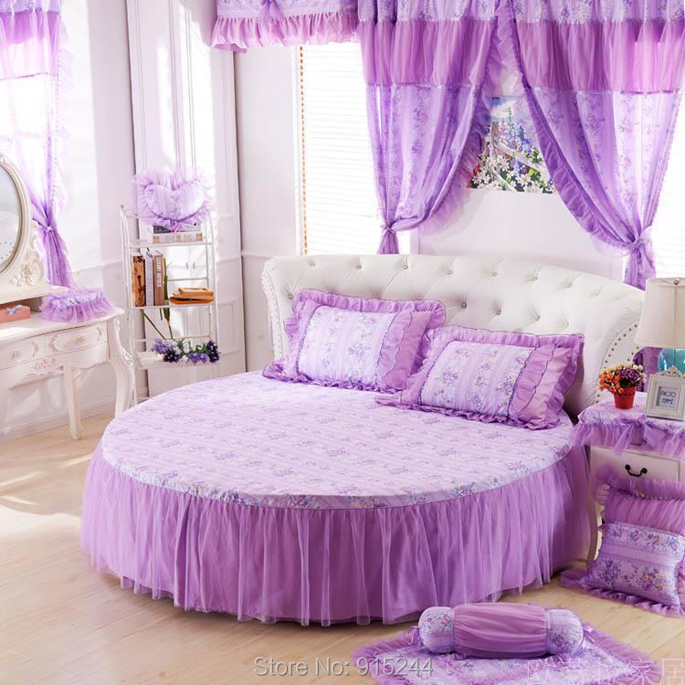 Round bed lace pink polka dots duvet cover set lace bow round bed bedding  2m/2.2m/ 2.5m wedding luxury bed large king size bed-in Bedding Sets from  Home ...
