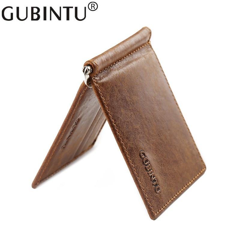 GUBINTU Genuine Cowhide Leather Money Clip Wallet Men Slip Metal Short Wallets Men Slim Clutch Men Wallet Small Purse For Man