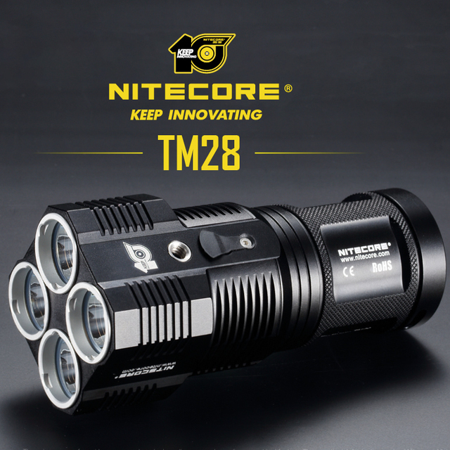 NITECORE 10th Anniversary Commemorative Edition TM28 6000LM CREE XHP35 HI 4LED Rechargeable Hight Light Flashlight Free Shipping
