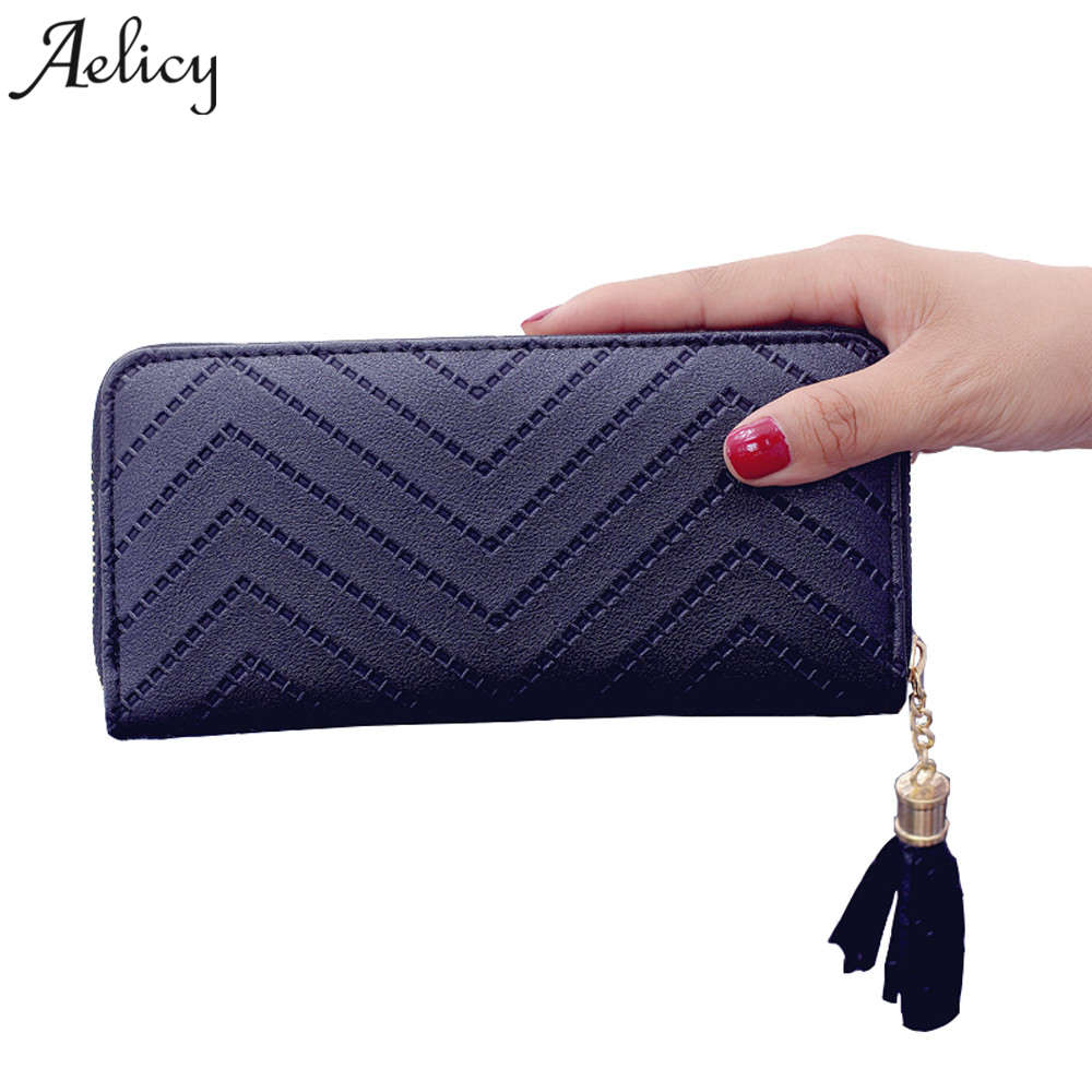 Aelicy Women PU Leather Long Wallets Fashion Tassels Wallet Female Purse Wallet Female Famous Brand Card Holders Carteira aelicy long clutch women wallet female simple retro owl printing womens wallets and purses luxury brand famous card holders