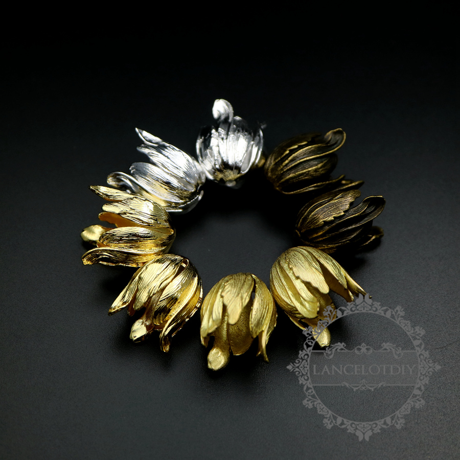 17x20mm Raw Brass,silver,gold,bronze Flower Beads Cap DIY Pendant Charm Jewelry Supplies Findings 1810462