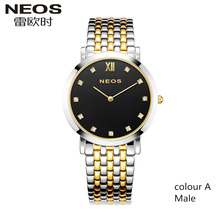NEOS Simple Fashion Trendy Diamond Slim Watch Men Couple Female Watch Waterproof Quartz Male Watch Hot