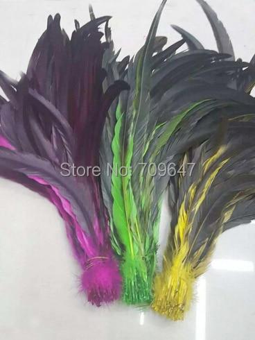 100 шт./партия! 14-16 дюймов 35-40 см длинные хвостовые перья птиц окрашенные розы/зеленый/желтый, Длинные хвостовые перья для костюмов головного убора