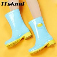 Tfsland Women New Animal Cartoon PVC Rainboots Jelly Candy Color Soft Rain Boots Waterproof Water Shoes Wellies Boots Sneakers