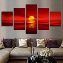 Modern 5pcs Canvas Wall Art Decor of Red Sunset HD Painting