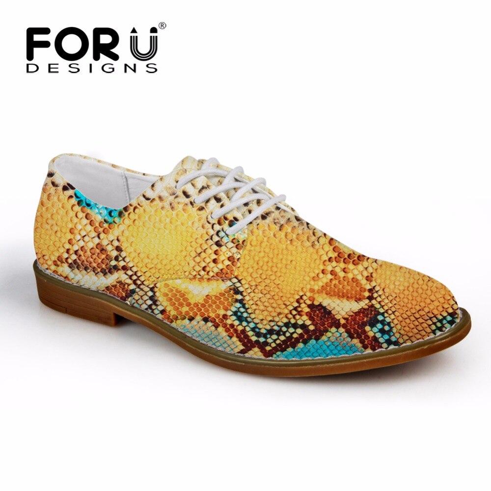 FORUDESIGNS hommes Oxfords chaussures de luxe motif serpentin hommes chaussures plates à lacets décontracté chaussures en cuir synthétique pour homme Zapatos