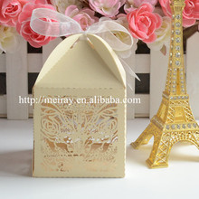 Fancy laser cut light gold wedding / first communion boxes