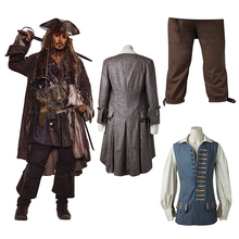 Captain Jack Sparrow Costume Pirates of the Caribbean Cosplay Dead Men Tell No Tales Salazar's Revenge Jacket Halloween Adult