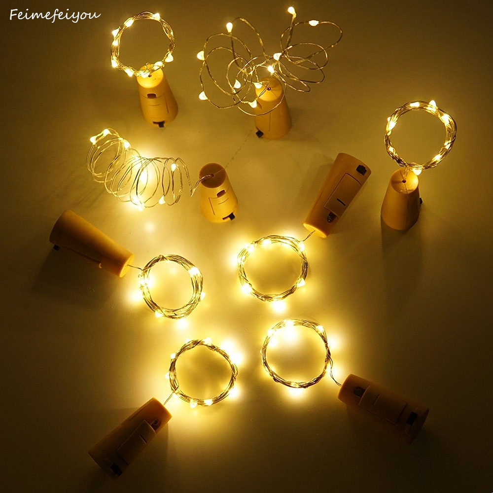 10PCS <font><b>Led</b></font> Bottle Cork Light String Button Battery Waterproof <font><b>1.5M</b></font> 2M Fairy Lights String For Wedding Party Decoration image