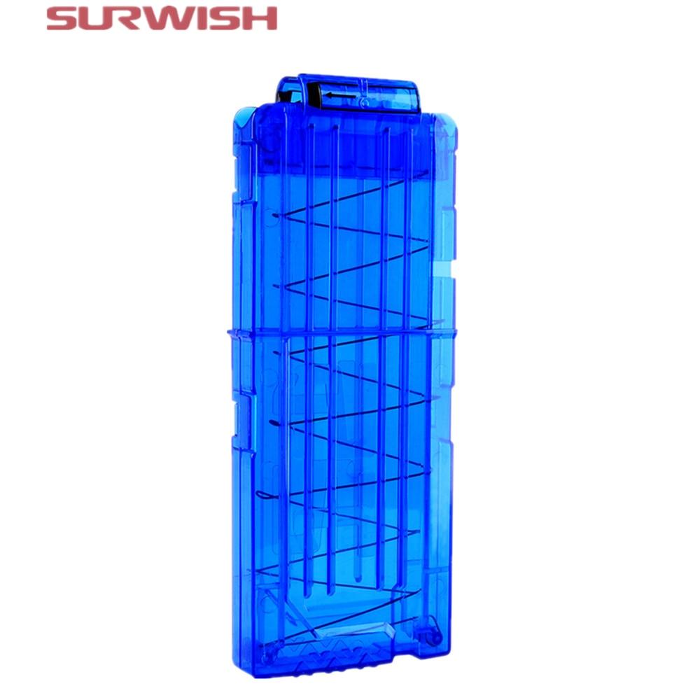Surwish Soft Bullet Clips For Nerf Toy Gun 12 Bullets Ammo Cartridge Dart For Nerf Gun Clips – Transparent Blue
