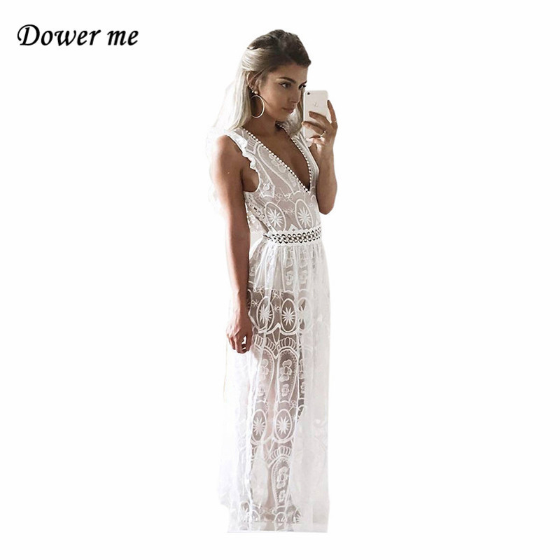 Sexy Hollow Out Backless Women Party Dress Vestidos Female Elegant Lace Split Long Dress Charming Deep