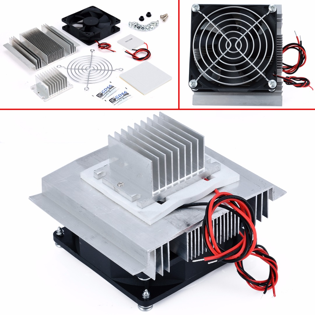 цена на DC 12V Thermoelectric Peltier Refrigeration Cooling System Semiconductor Air Conditioner Cooler DIY Kit