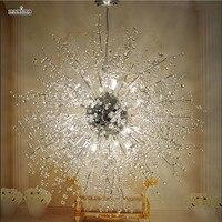 Modern Dandelion LED Pendant Light Clear Crystal Hanging Pendant Lamp for Dining Room Restaurant Living room Entryway