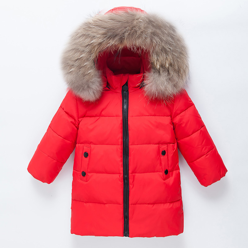 Winter Down Jacket For Girls Long Down Coats Fur Hooded Girls Children Winter Coat Fashion Boys Snowsuit Thicken Coat Warm Parka 2017 children wool fur coat winter warm natural 100% wool long stlye solid suit collar clothing for boys girls full jacket t021