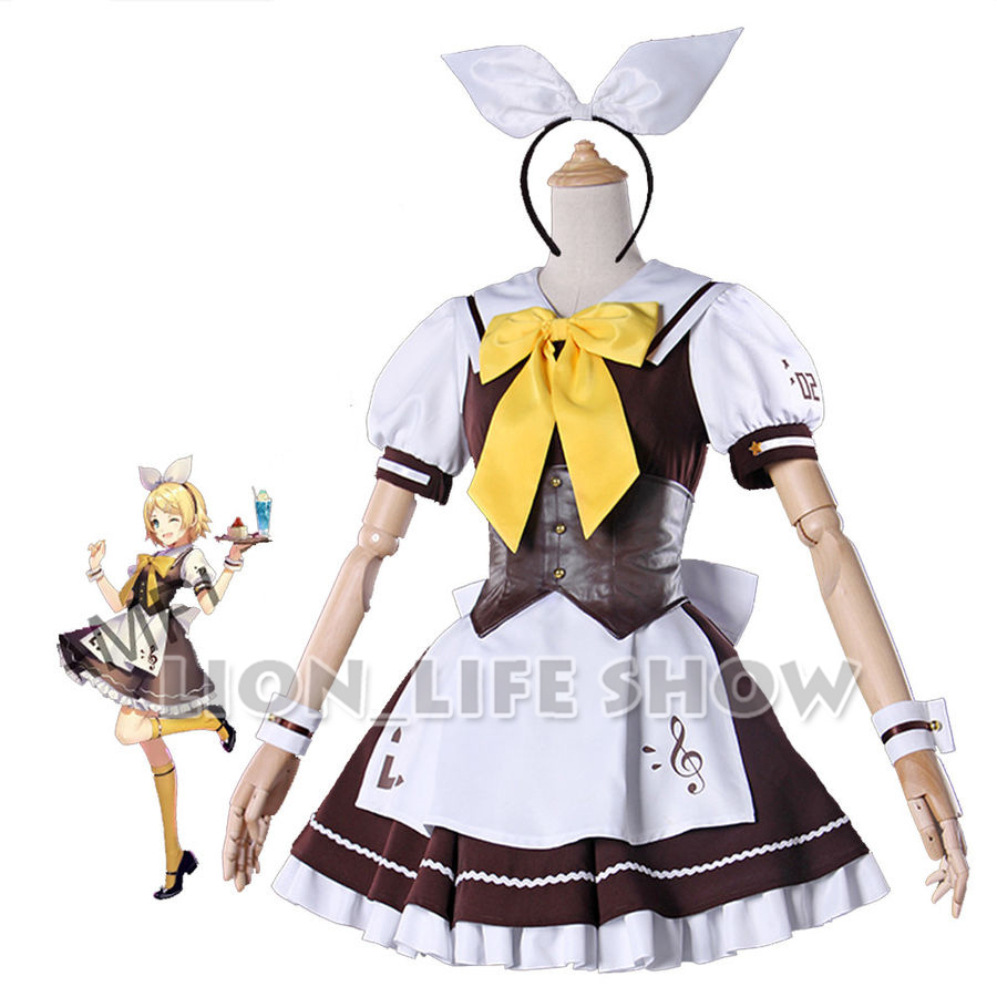 Vocaloid Hatsune Miku Cafe Rin Cosplay Costume Maid Servant Lolita Dress all set xs-xl