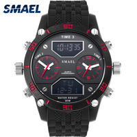 SMAEL Brand Watches For Men 2017 Three Time Display Cool Military Watch Reloj Chronograph Auto Date