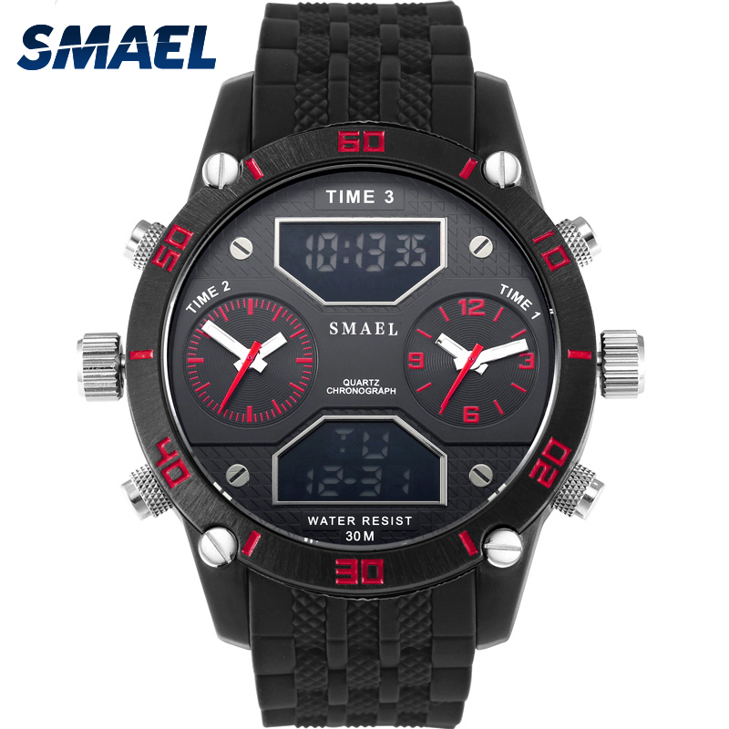 SMAEL Men Watch Black Sport Watches 2017 Luxury Brand Three Time Displays Watch 1159 Relogio Masculino Military Clock Men Alarm splendid brand new boys girls students time clock electronic digital lcd wrist sport watch