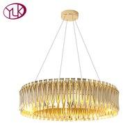 Youlaike золотые люстры роскошной жизни Обеденная светодиодный подвесной светильник AC110 240V Алюминий лампа загорается