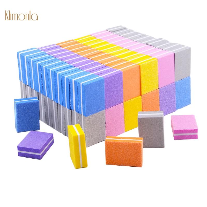 100 pcs arquivo de unha esponja 100 180 lixa polimento buffers cuticula removedor manicure ferramentas para