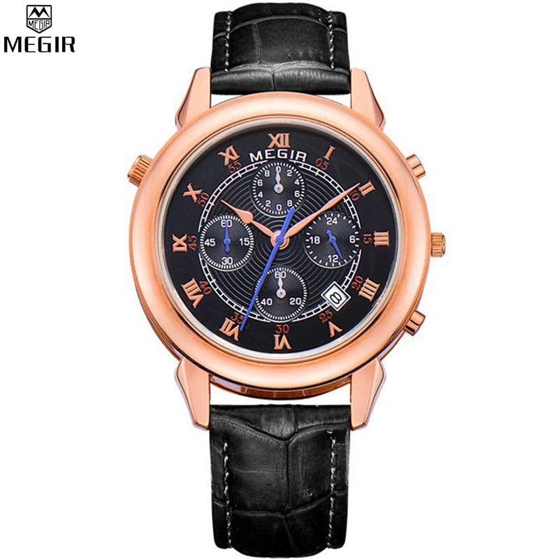 Two Face Star Dial Mens MEGIR Luxury Brand Leather Watches Men Waterproof Fashion Sports Quartz WristWatch Male Hours Sale