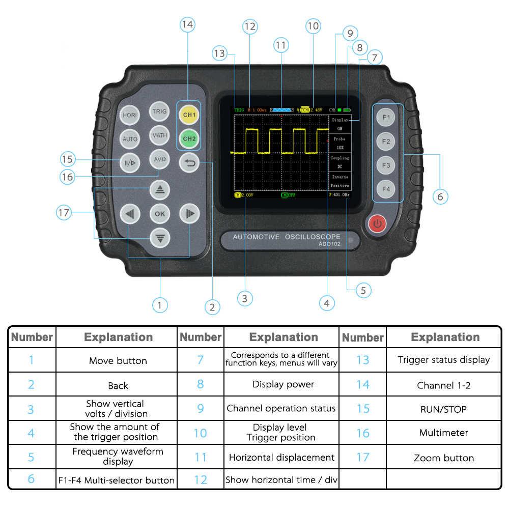 ADO102 ハンドヘルドオシロスコープ 100 m サンプル/s デジタルマルチメータオシロスコープデュアルチャンネル車修理自動車オシロスコープ