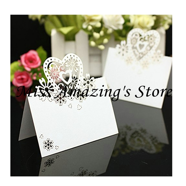 50x Heart Wedding Birthday Meeting Meal Table Place Setting Name Number Cards Party Decorations Favors(Customized Service)