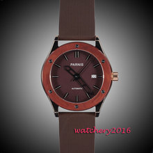 44mm parnis Brown dial Brushed Case date adjust top brand Luxury Newest Hot Fashion Rubber strap