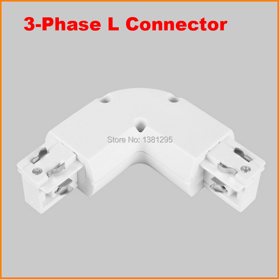 3 phase circuit 4 wire l shape light track rail connector for S shaped track lighting