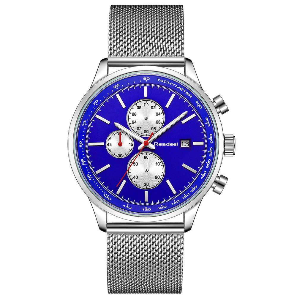 Readeel 2018ใหม่โครโนกราฟควอตซ์นาฬิกาผู้ชายเหล็กตาข่ายทหารทองนาฬิกาข้อมือควอตซ์-ดูนาฬิกาชายRelógio Masculino