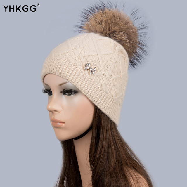 dcf56b20243 YHKGG 2016 Bow-knot Skullies Beanies Big Fur Pompom Brand New Latest Lines Warm  Winter