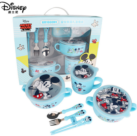 6-piece Disney Kids Dinnerware Sets Child Assisted Dishes Bowl Baby Feeding Mickey Minnie Milk Cup Chopsticks Spoon Fork Sets