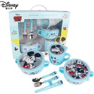 Image 1 - Детский набор посуды disney из 6 предметов, чаша для кормления детей, Микки, Минни, чашка для молока, палочки для еды, ложки и вилки