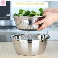Colander Strainer Basin Cooker Utensil Mixing Bowl Large Kitchen Tool 2pcs set Rice Sieve Fruit Washing SUS#304