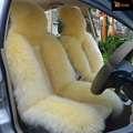 1 Conjunto DUMI Short & Long Lã Fit Universal Para 5 Assentos 100% Natureza Pele De Carneiro Tampas de Assento Do Carro Bege