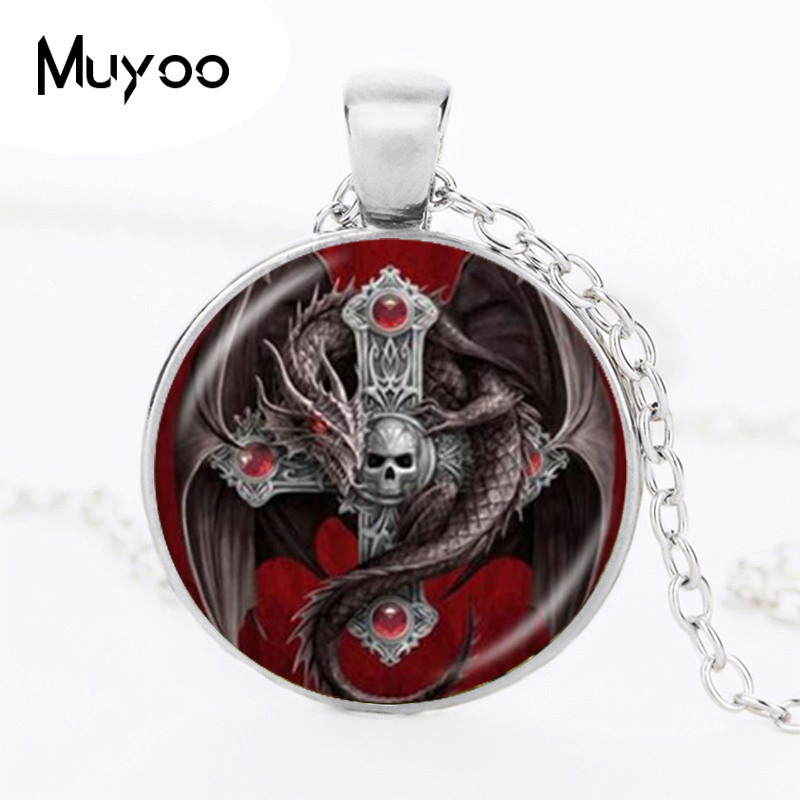 Gothic Dragon and Cross Pendant Necklace Skull Jewelry Glass Glass Cabochon Time Gem Animal Chain Sweater Necklace Best Gifts Кольцо
