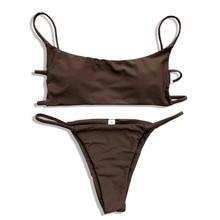 Бразильский бикини 2018 купальный костюм для женщин одежда заплыва ванный комплект Летняя Пляжная Сексуальная Push Up Off Shouler комплект